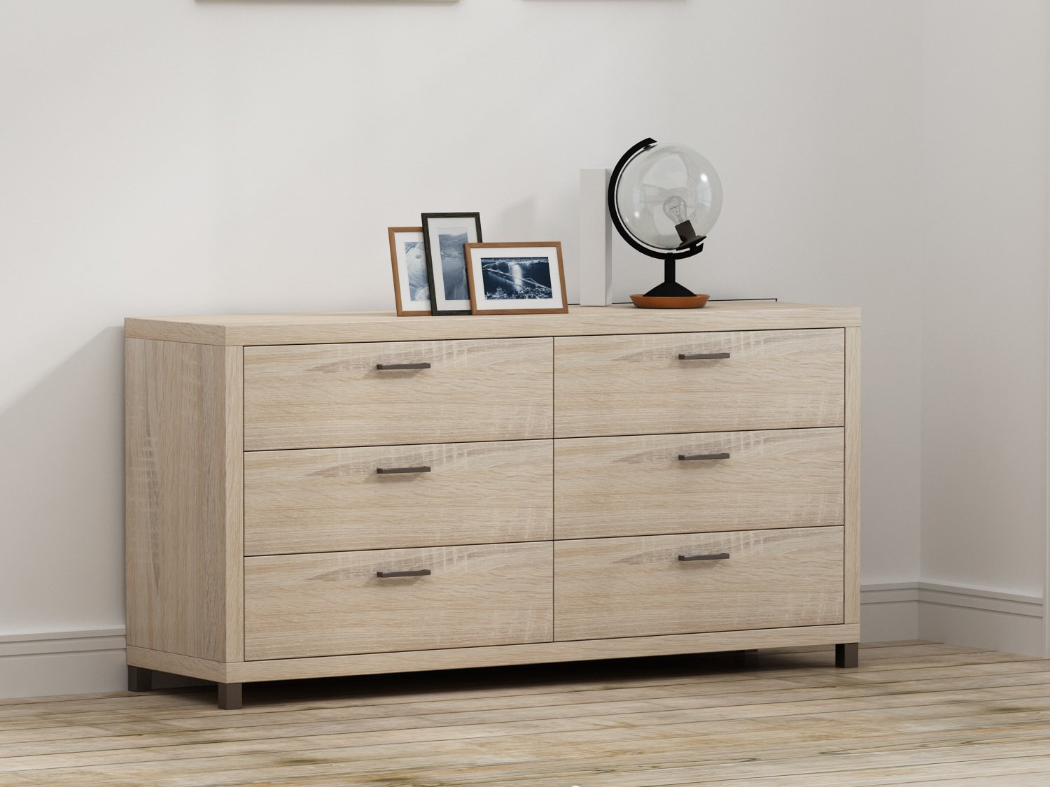 Brown 6 drawer dresser made from engineered wood and laminate sturdy construction metal feet handles bedroom furniture chest bundle with our expert