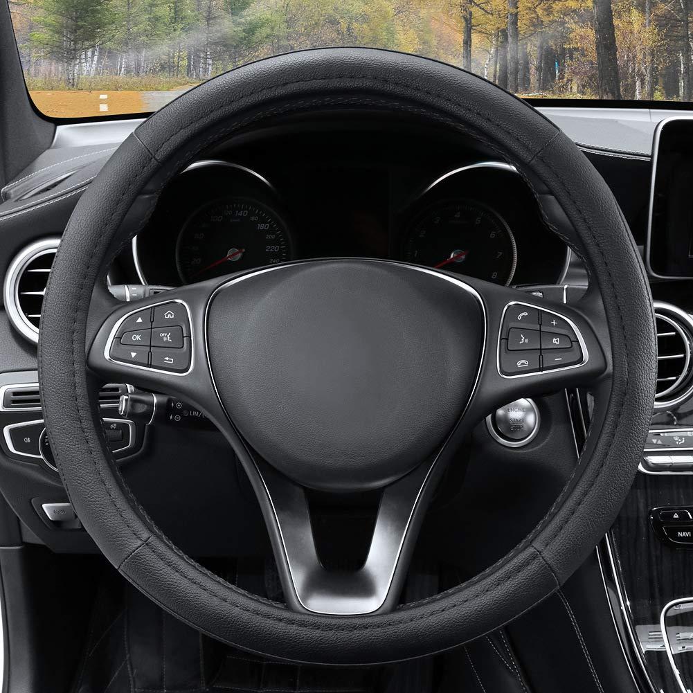 Jaguar Xf Black /& Beige Genuine Leather Steering Wheel Cover Glove 37cm