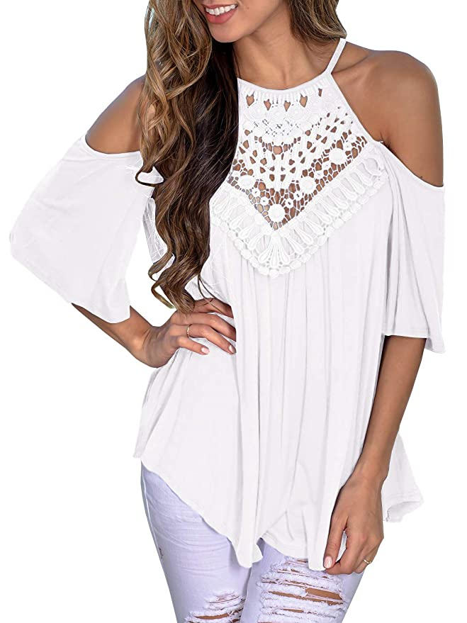 63b6a667f82 Jeanewpole1 Womens Cold Shoulder Lace Tunic Tops Halter Bell Sleeve Flowy  Chiffon Blouse Shirts
