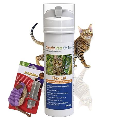 Simply Pets Online fluidos Complemento para Gatos Artritis Contiene Verde lipp Conchas y Gato Menta Juguete
