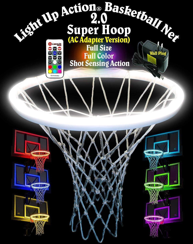 Light Up Action Basketball Net 2.0 Super Hoop Lighting System Full Size Full Color Shot Sensing Action