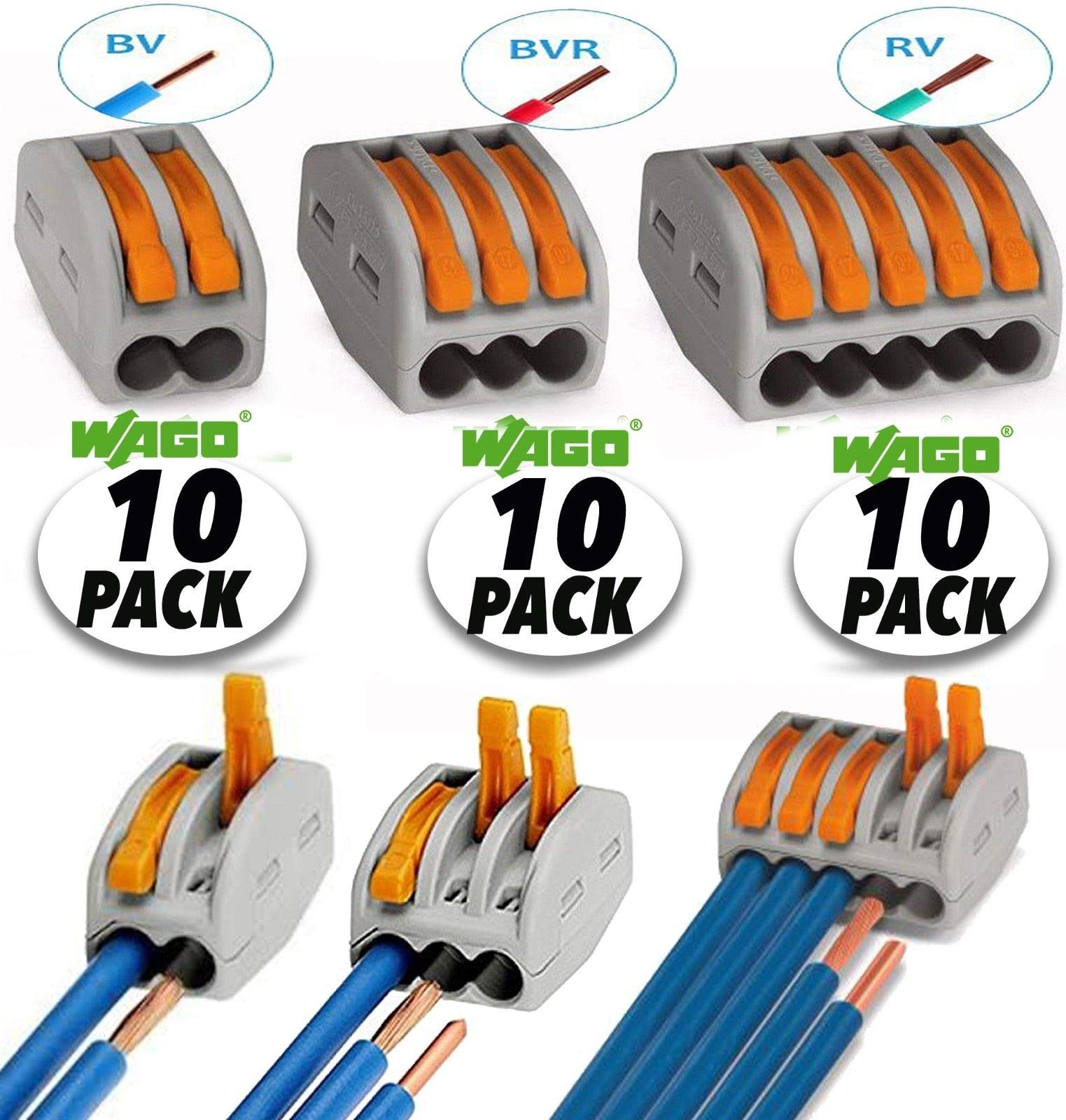 Wago 2 Port (10) 3 Port (10) 5 Port (10) Lever-Nut Assortment Pack Conductor Compact Connector Terminal Block Wire Push Cable Connector 12-28 AWG, 32A
