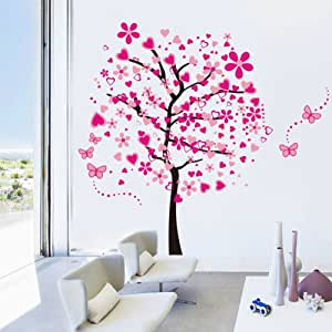 ElecMotive Huge Size Cartoon Heart Tree Butterfly Wall Decals Removable Wall Decor Decorative Painting Supplies & Wall Treatments Stickers for Girls Kids Living Room Bedroom (Heart Tree Butterfly)