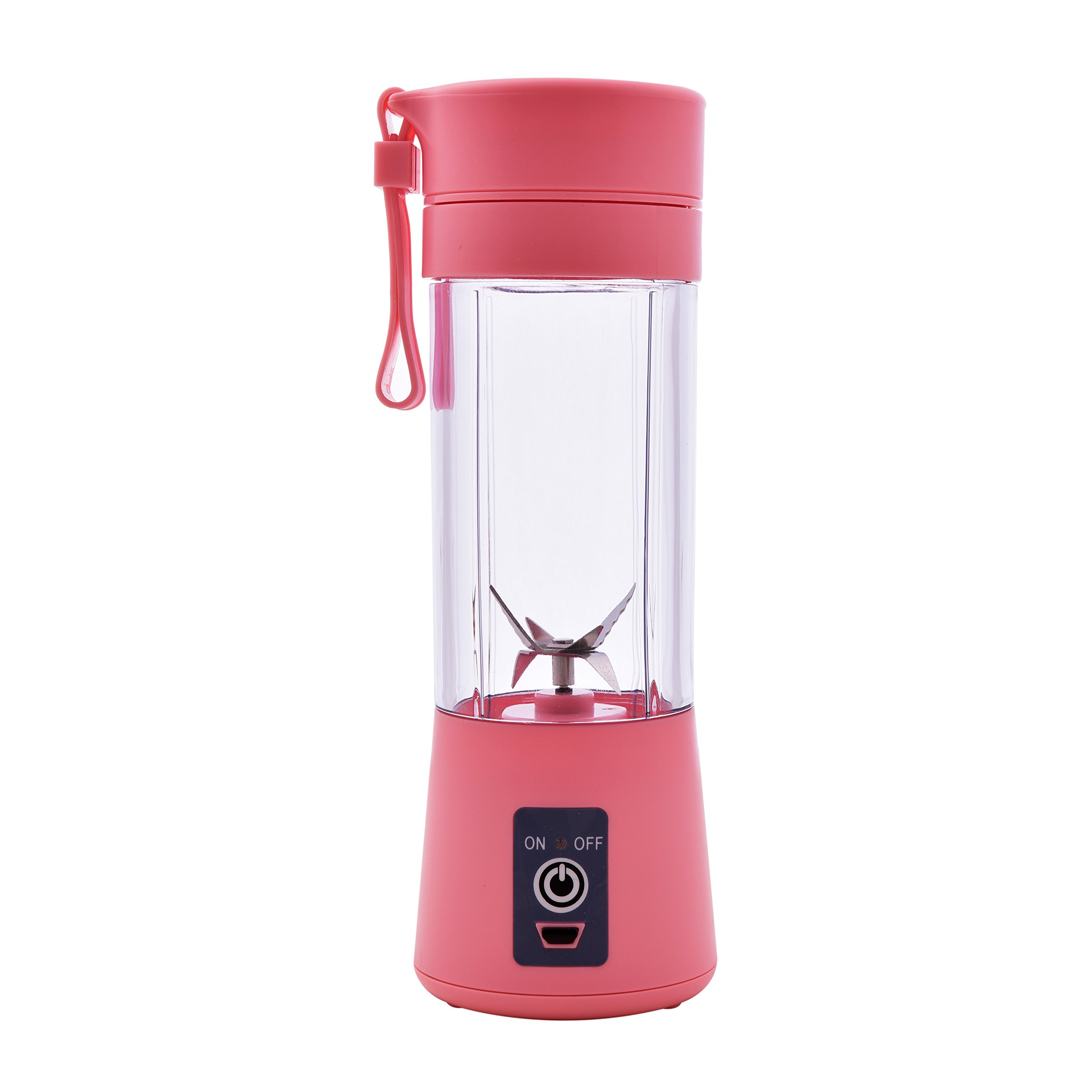 2018 [Upgraded Version] Portable Juicer Cup Personal Size Eletric Rechargeable Mixer USB Juice Blender 380ml 6 Blades in 3D for Superb mixing for Traveling Working Outdoors (pink)