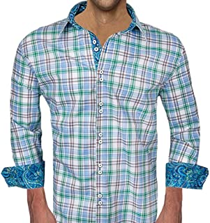 product image for Green and Blue Plaid Designer Dress Shirt - Made in USA