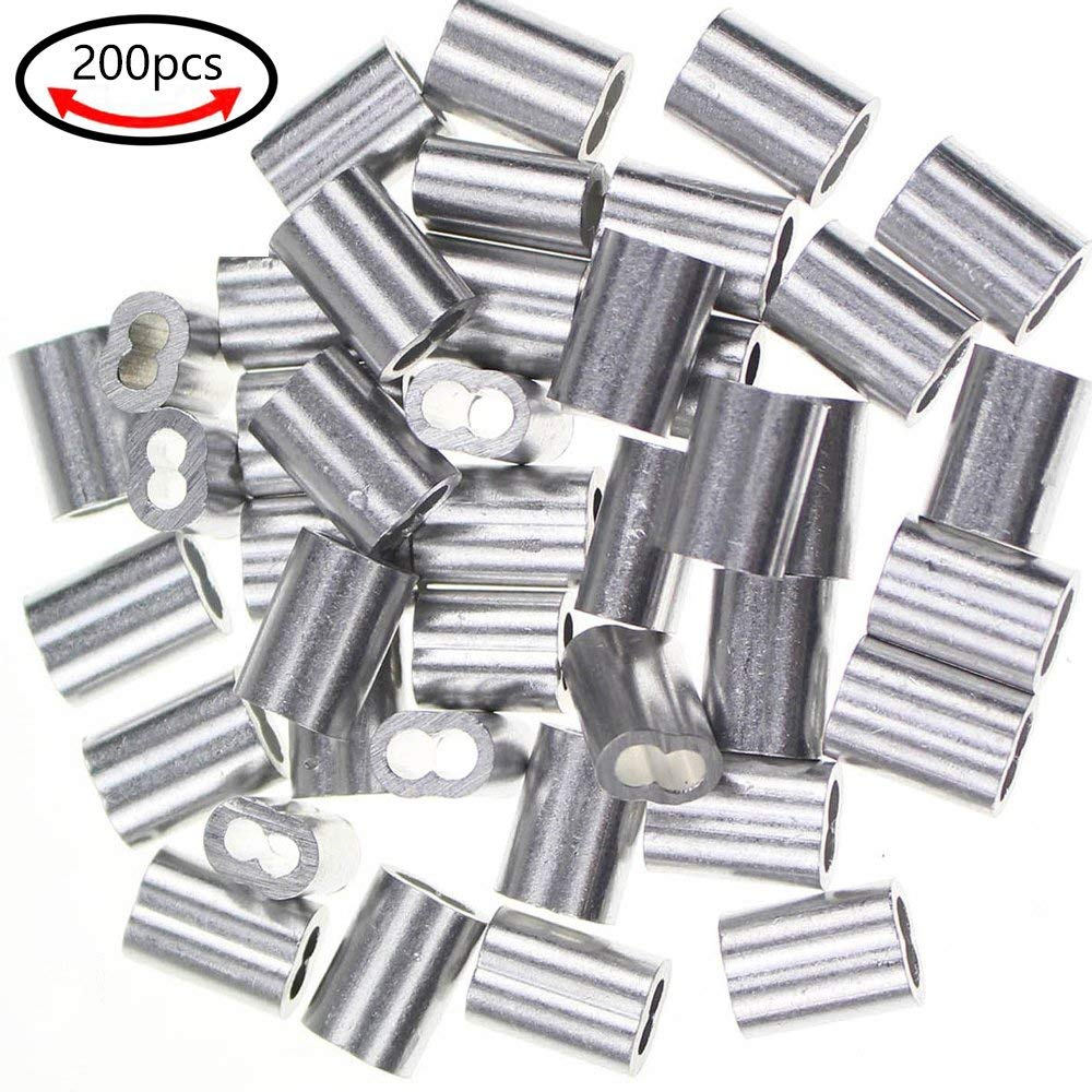 AIKEER 200Pcs 1//16 Inch Wire Rope Aluminum Crimping Loop Sleeves Clip Fittings Cable Crimps and 20pcs M2 Stainless Steel Thimble