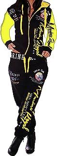 Unbekannt 'Donna Jogging della Tuta Tuta da Allenamento Fitness Sport Jogging Streetwear Pantaloni e Giacca Marine, Nero/Giallo