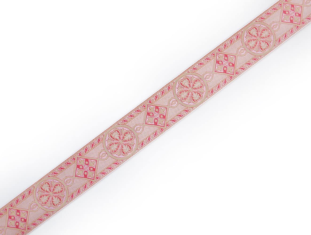 """2 3//8/"""" Jacquard Trim Medieval Style Rose  on Gold Church Vestment Sewing 3 Yards"""