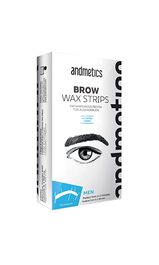 andmetics Brow Wax Strips Men – Patentada Eyebrow Cejas Cera fría, 12 unidades
