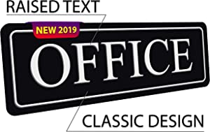 The Office Sign for Door or Wall — Black Office Signs for Doors or Walls — Large Raised Office — self-Adhesive 9×3 in — Durable Quick and Easy Installation — Premium Best Office Sign New Design 2019