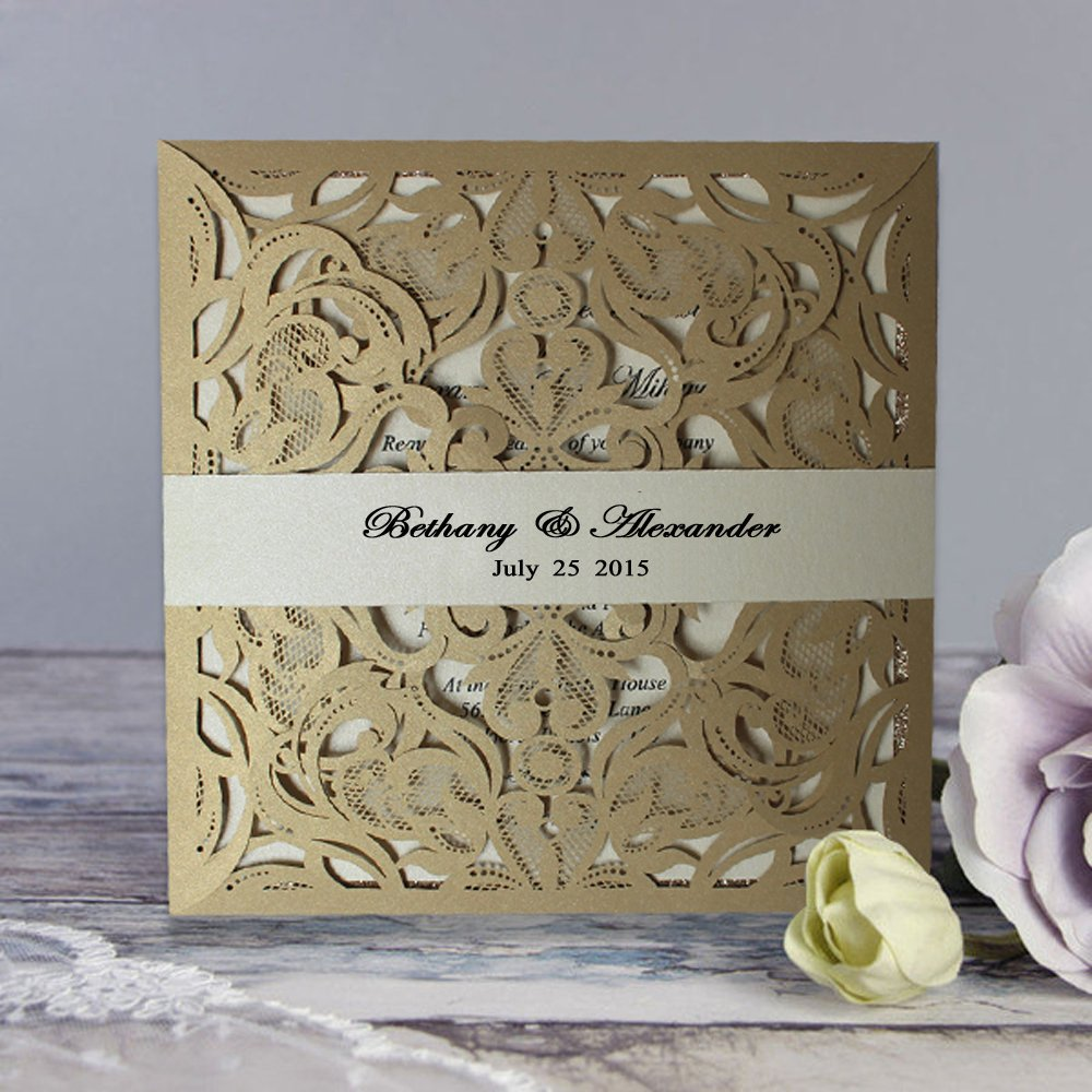 Amazon Com Picky Bride Luxury Laser Cut Wedding Invitations