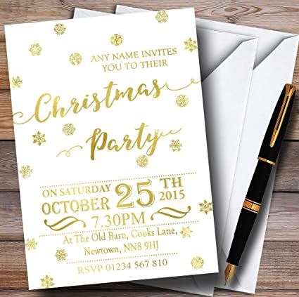 golden snowflakes white personalized christmasnew yearholiday party
