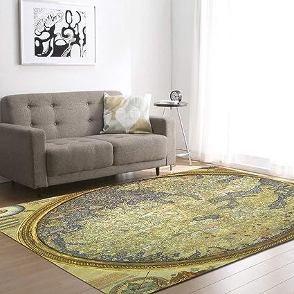 MOZHIYAN Tappeto Mappa del Mondo Tappeti per Soggiorno Sedia da ...