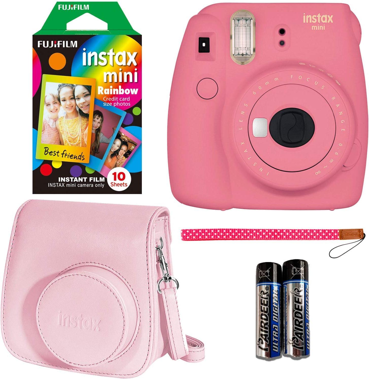 Fujifilm Instax Mini 9 Instant Camera Flamingo Pink Fujifilm Instant Mini Rainbow Film And Fujifilm Instax Groovy Camera Case Pink Camera Photo