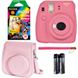Fujifilm Instax Mini 9 Instant Camera - Flamingo Pink, Fujifilm Instant Mini Rainbow Film, and Fujifilm Instax Groovy…