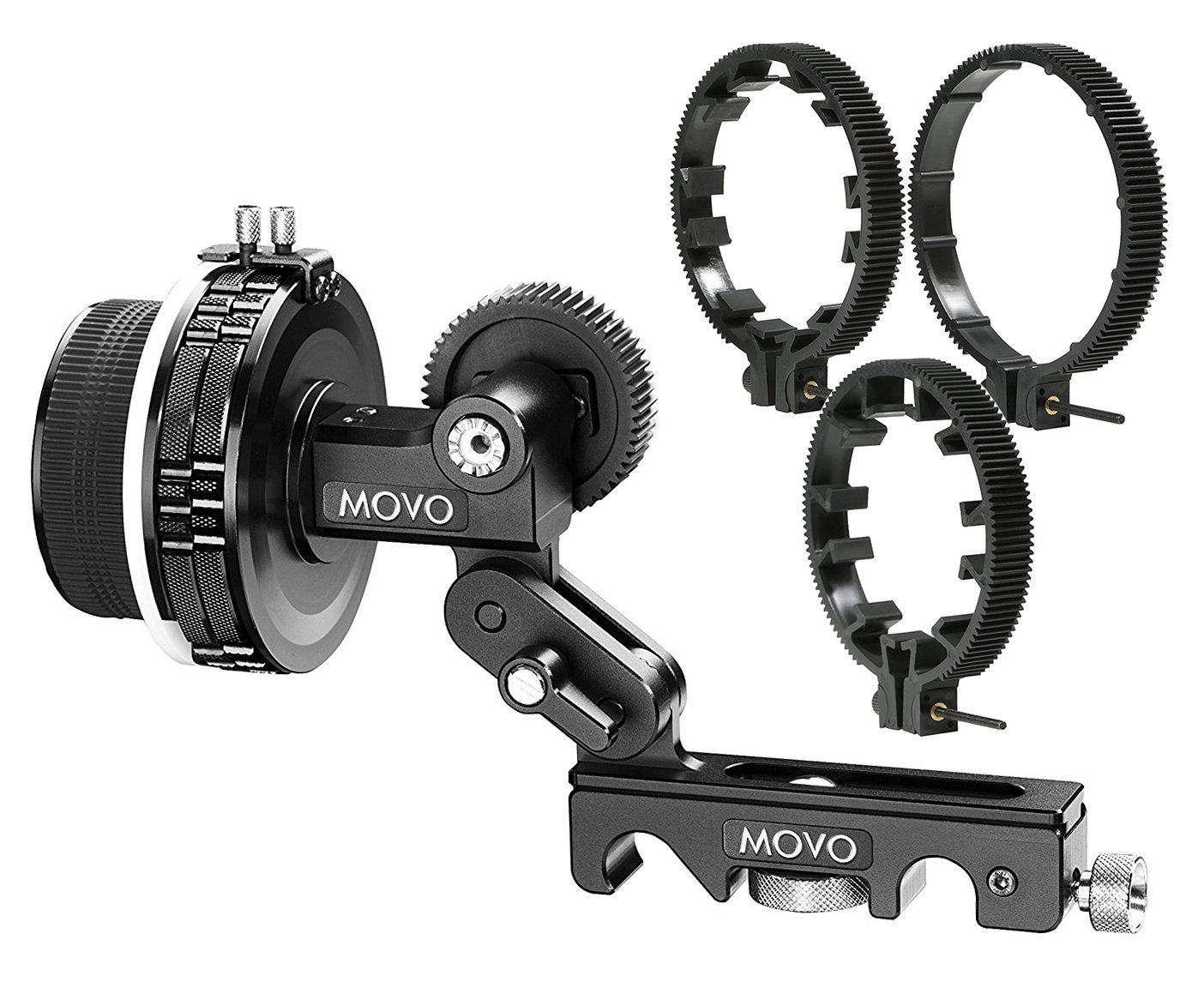 Movo F2X Precision Follow Focus System with Hard Stops and 65mm, 75mm, 85mm Adjustable Gear Rings by Movo