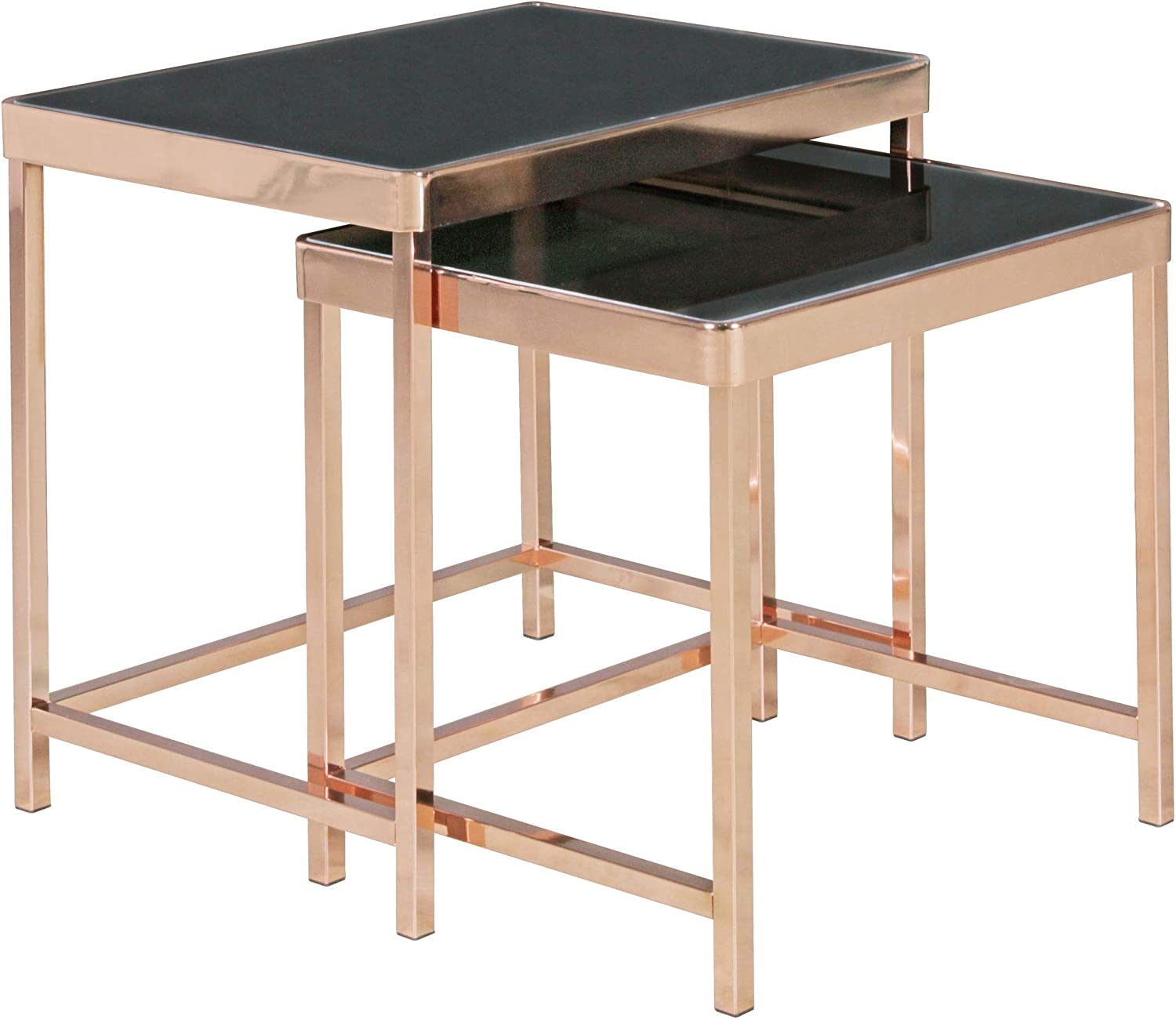 Finebuy Design Set Of 2 Nesting Table Metal Glass Black Copper Mirrored Console Table Coffee Table Modern Square Glass Coffee Table Amazon De Kuche Haushalt