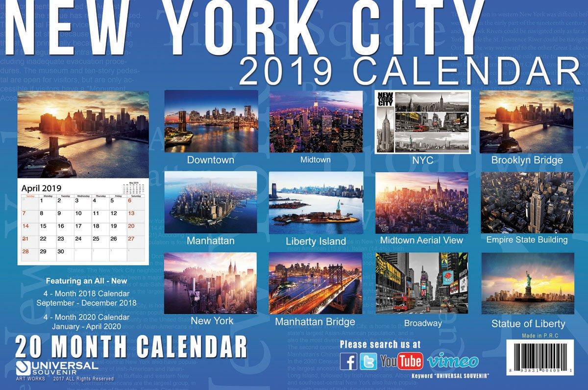 09f1793c2b04b 2019 Petite Couleur New York City 20 mois Calendrier NYC photos couleur NY  monuments Calendrier - 22,9 x 15,2 cm (Set B): Amazon.fr: Fournitures de  bureau