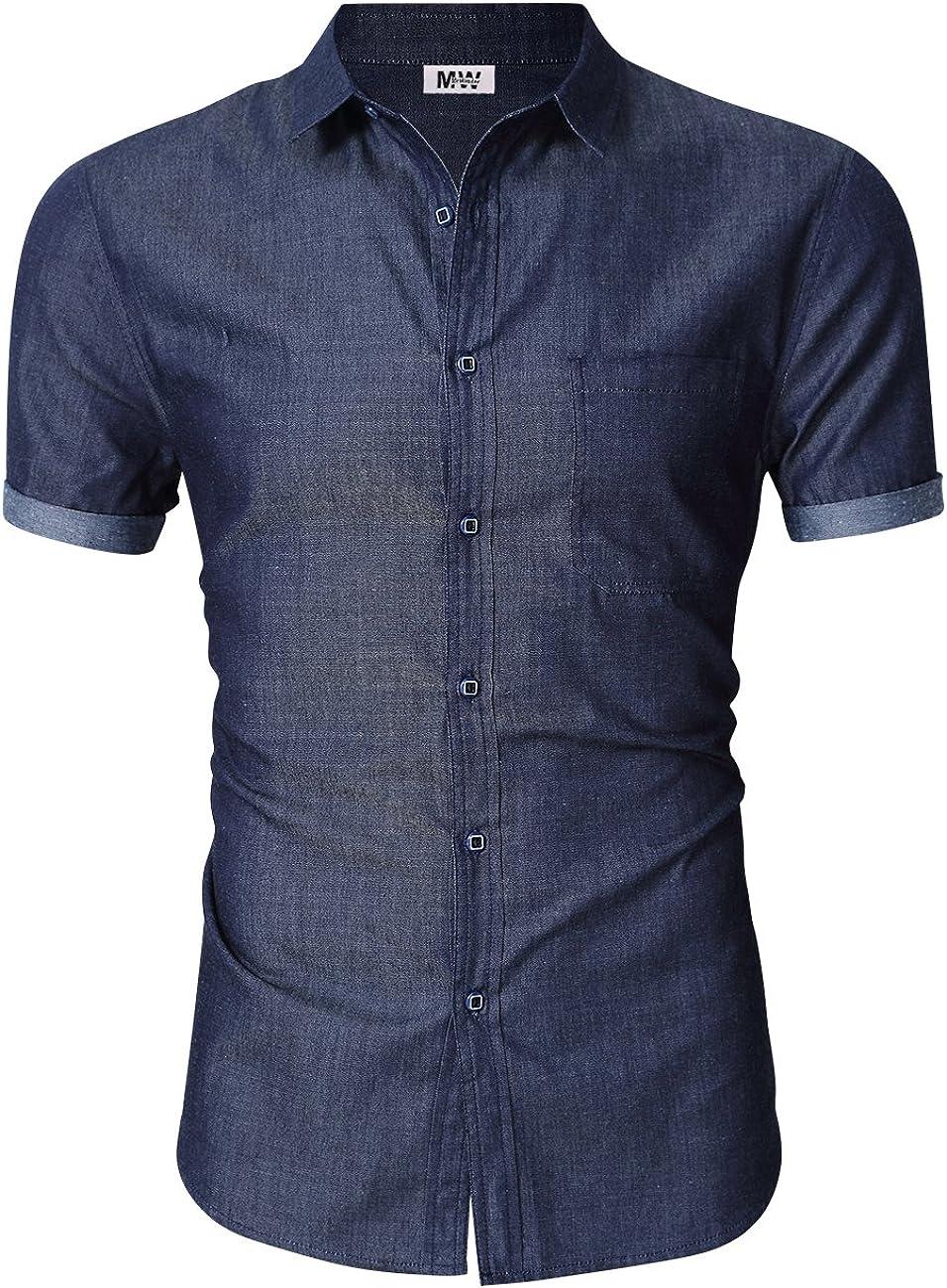 KUULEE Men's Button Down Jean Shirts Denim Work Shirt Slim Fit Dress Shirts Long/Short Sleeve Spring Shirt for Men