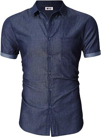 MrWonder Camisa de Jean de Manga Corta para Hombre, Informal, Ajustada, con Botones: Amazon.es: Ropa y accesorios