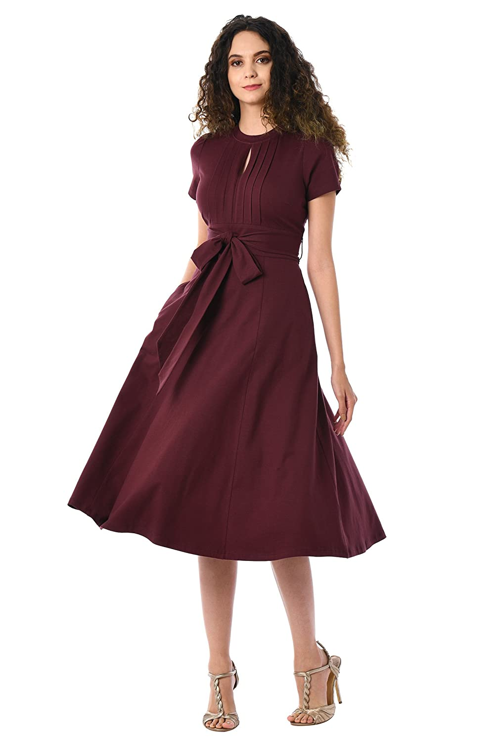 1940s Costume & Outfit Ideas – 16 Women's Looks eShakti Womens Tux Pleat Front Cotton Knit Dress $59.95 AT vintagedancer.com