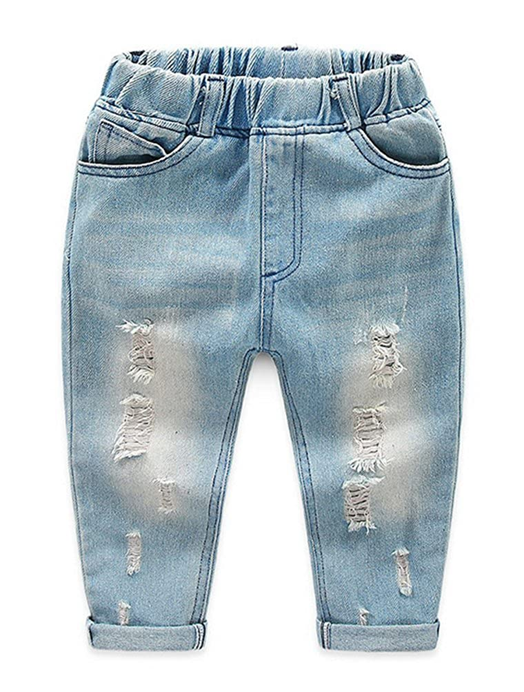 Abolai Baby Boys Denim Pants Ripped Holes Jeans Trousers