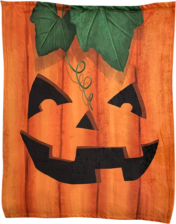 "Smiling Jack-O-Lantern Face Halloween Blanket - 50"" x 60"", Orange Smiling Pumpkin Fuzzy Blanket, Fall Decor, Halloween Room Decor, Classroom, Office, Home Decor, Soft Decorative Throw Blanket"