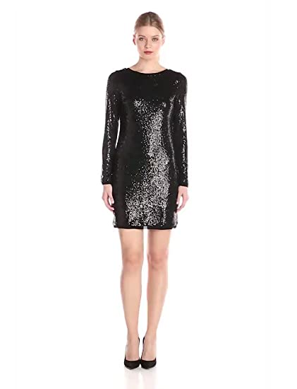 Kensie Women's Sequin Dress, Black, Small at Amazon Women's ...