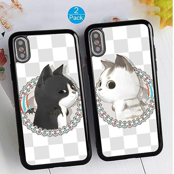 6a6dd88d19 Amazon.com: iPhone X/10 Couple Case Unique Fashion Cute Cat Matching ...