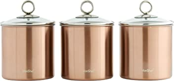 52684a506680 VonShef Tea Coffee and Sugar Canisters Kitchen Storage Jars with Glass Lids  Brushed Copper Stainless Steel