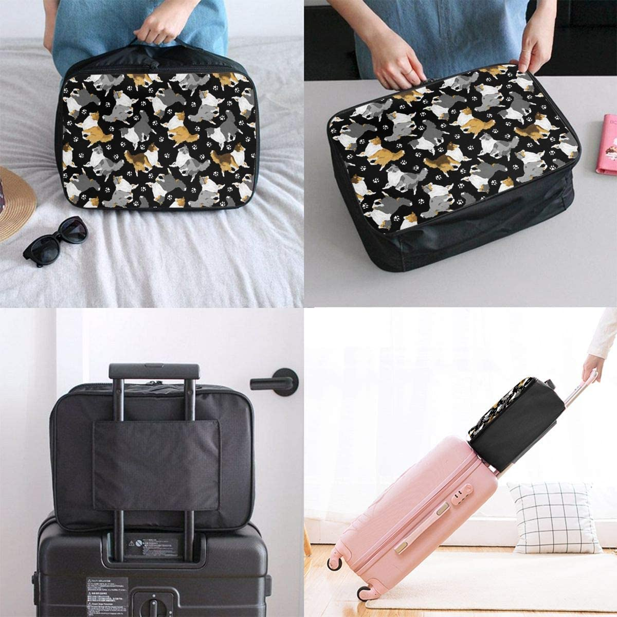Cute Dog Paw Prints Black Background Travel Carry-on Luggage Weekender Bag Overnight Tote Flight Duffel In Trolley Handle