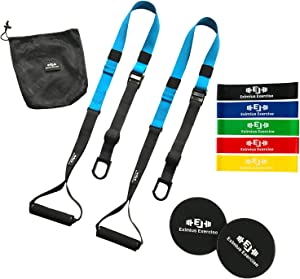 Eximius Exercise Bodyweight Resistance Trainer Kit, Suspension Training Straps with Resistance Bands and Core Sliders, Full Body Home Workouts, New 2020