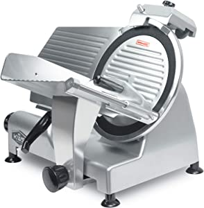 KWS MS-12NT Premium Commercial 420w Electric Meat Slicer 12-Inch Non-sticky Teflon Blade, Frozen Meat/ Cheese/ Food Slicer Low Noises Commercial and Home Use [ ETL, NSF Certified ]