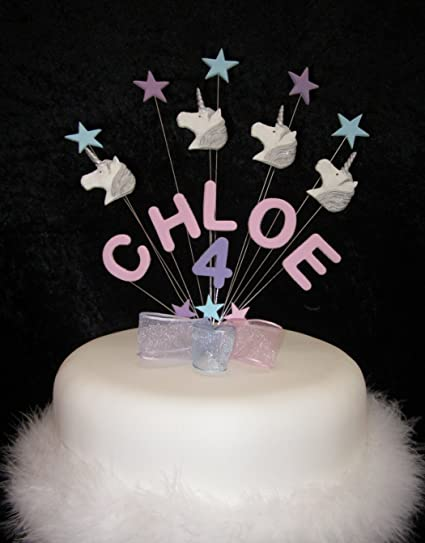 Personalised Unicorn Birthday Cake Topper Any Name Age Or Colour Amazoncouk Kitchen Home