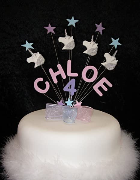 Personalised Unicorn Birthday Cake Topper Any Name Age Or Colour