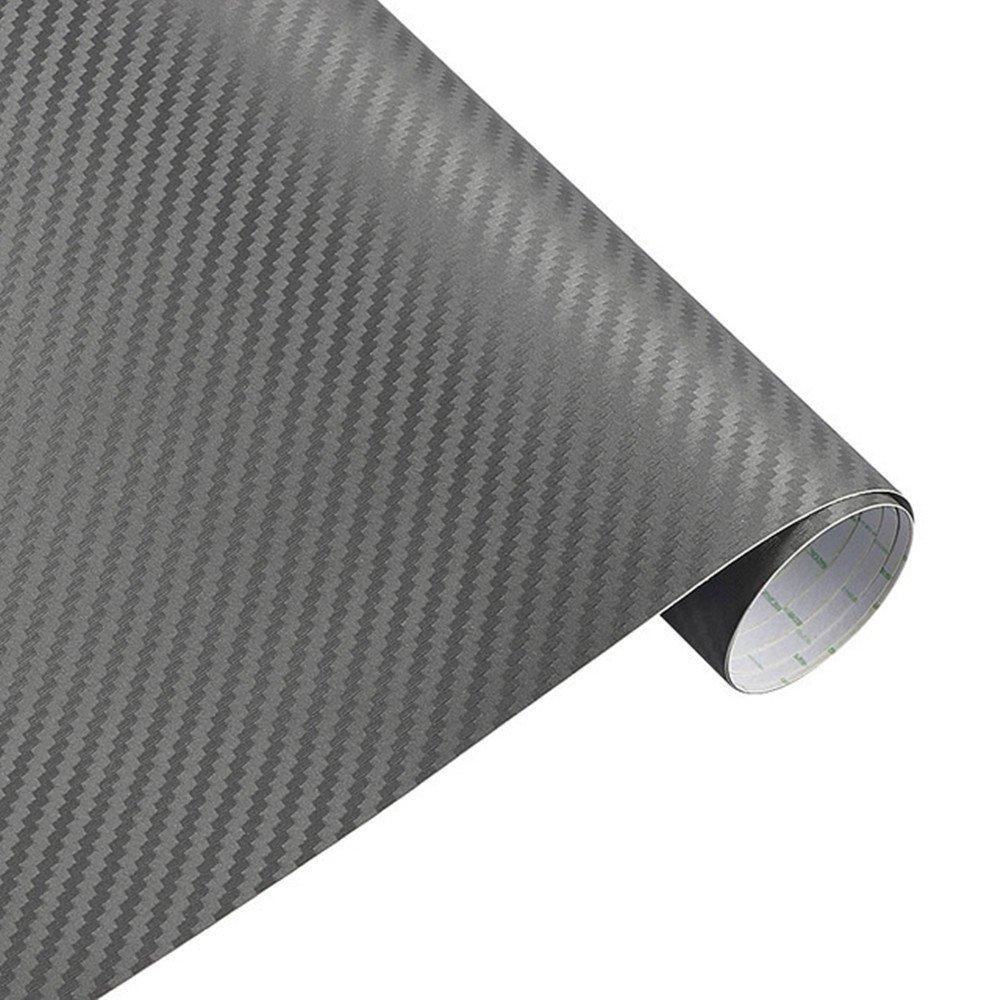 Pel/ícula Autoadhesiva Burbujas 3D De Fibra De Carbono para Autom/óviles Adecuada para Uso En Interiores Y Exteriores Blanco,127 * 10 cm