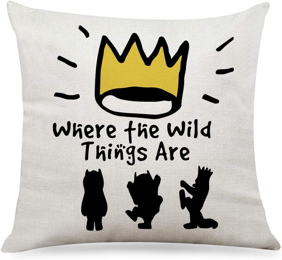 """Ihopes Cute Wild One Pillow Covers - Vintage Where The Wild Things are Theme Pillow Case Cushion Cover for Sofa Couch Living RoomDecor Gifts for Kids/Men/Women(18""""x 18""""Inch)"""