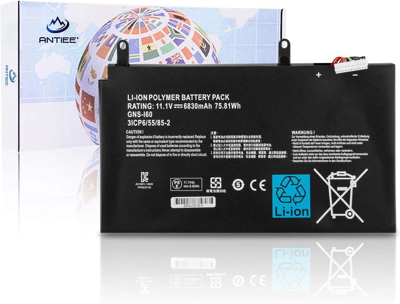 ANTIEE GNS-160 GNS-I60 Laptop Battery Replacement for GIGABYTE P35G v2 P35K P35N P35W P35X v3 v7 P37K P37W P37X v5 P57W v7 P57X v6 v7 Series 961TA010FA 11.1V 75.81Wh 6830mAh 6-Cell
