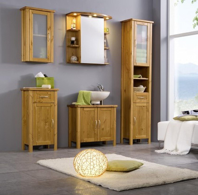 Spiegelschrank mit beleuchtung holz  Badmöbel Set Kiefer massiv Badezimmermöbel 5 teilig komplett ...