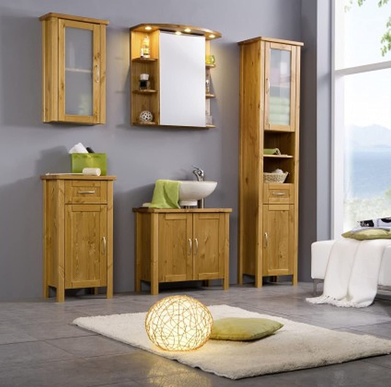 Badmöbel Set Kiefer Massiv Badezimmermöbel 5 Teilig Komplett Sparset:  Amazon.de: Küche U0026 Haushalt