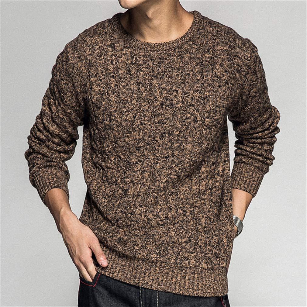 klwdas 100/% Cotton Twist Knit Sweater Pullovers Men Winter Mens Sweaters Dress Thicken Warm Pullover