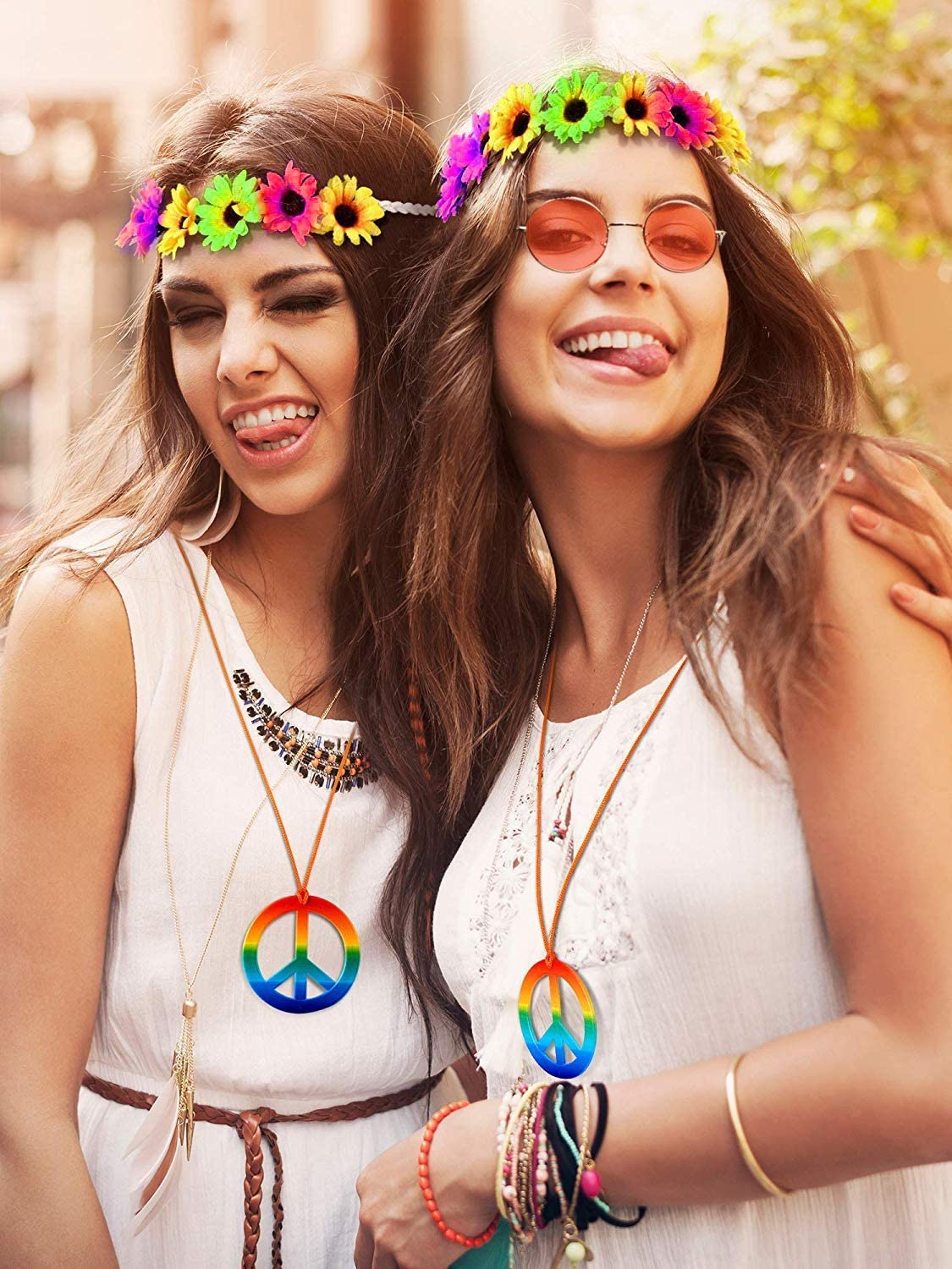 SPECOOL Conjunto de Disfraces Hippies Accesorios Hippies Arcoiris ...