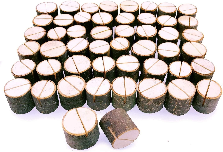 JZK 50 x Soportes tocón madera decoración número de mesa sostenedor foto nombre tarjeta memorándum para boda de tema rústico navidad cumpleaños jardín fiesta de barbacoa