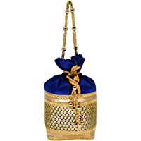 Bagaholics Ethnic Silk Clutch Potli Batwa Pouch Bag with Embroidery and Metal BeadWork Gift For Women