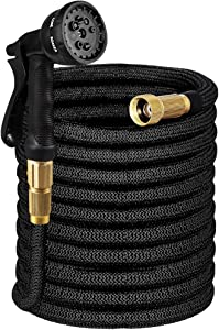 Tigerhu Garden Hose Expandable, 25ft Flexible Lightweight Water Hose with 8-Mode Spray Nozzle, Triple Layer Latex Core, 3/4 Solid Brass Fittings, Nylon-Elastic Shell with Storage Bag, Black