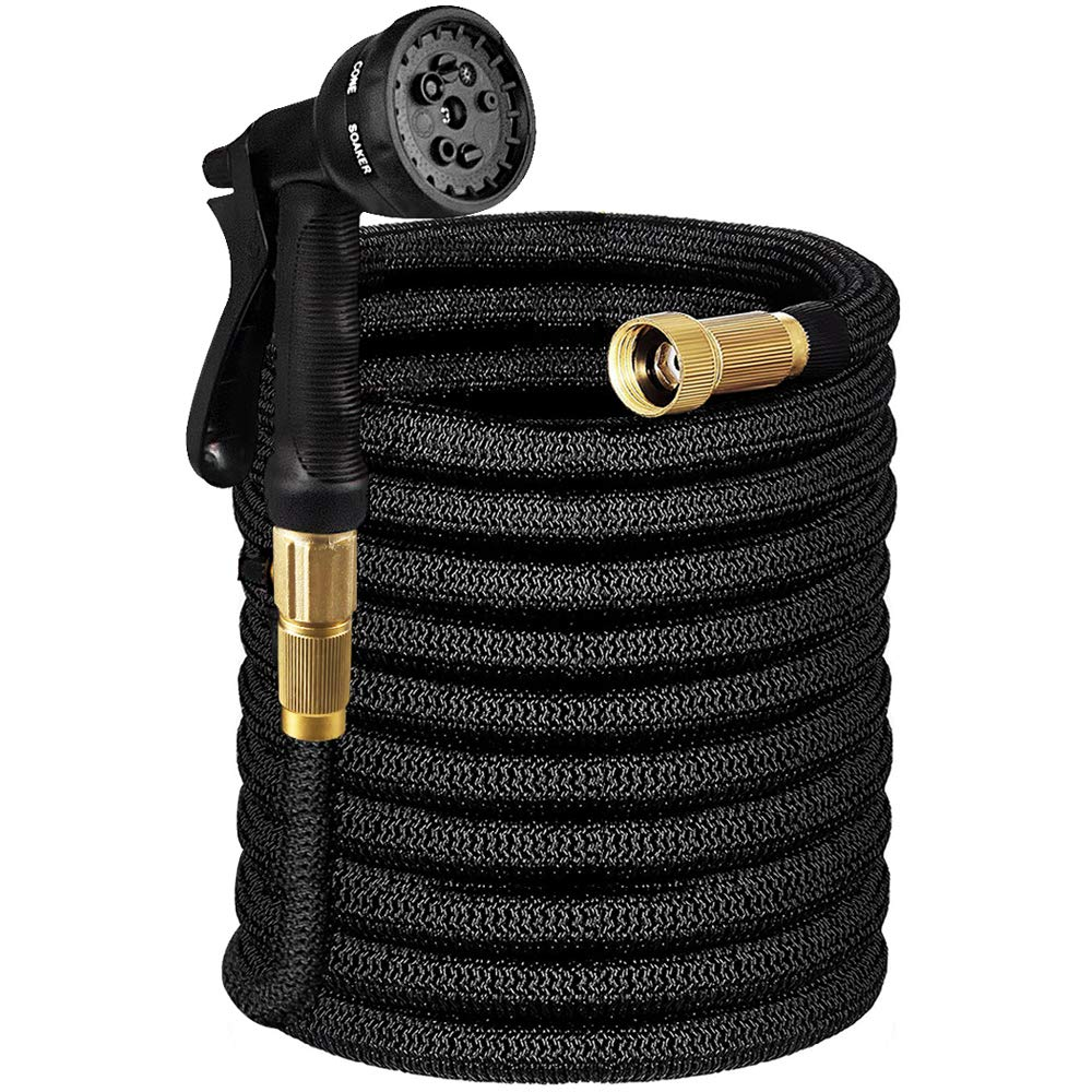 Tigerhu Expandable Flexible Garden Water Hose 100FT with 8-Mode Spray Nozzle, Triple Layer Latex Core, 3/4 Solid Brass Fittings, Nylon-Elastic Shell with Storage Bag, Black