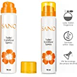 SANO Toilet Seat Sanitizer Spray, Orange Flavor- 75 ml