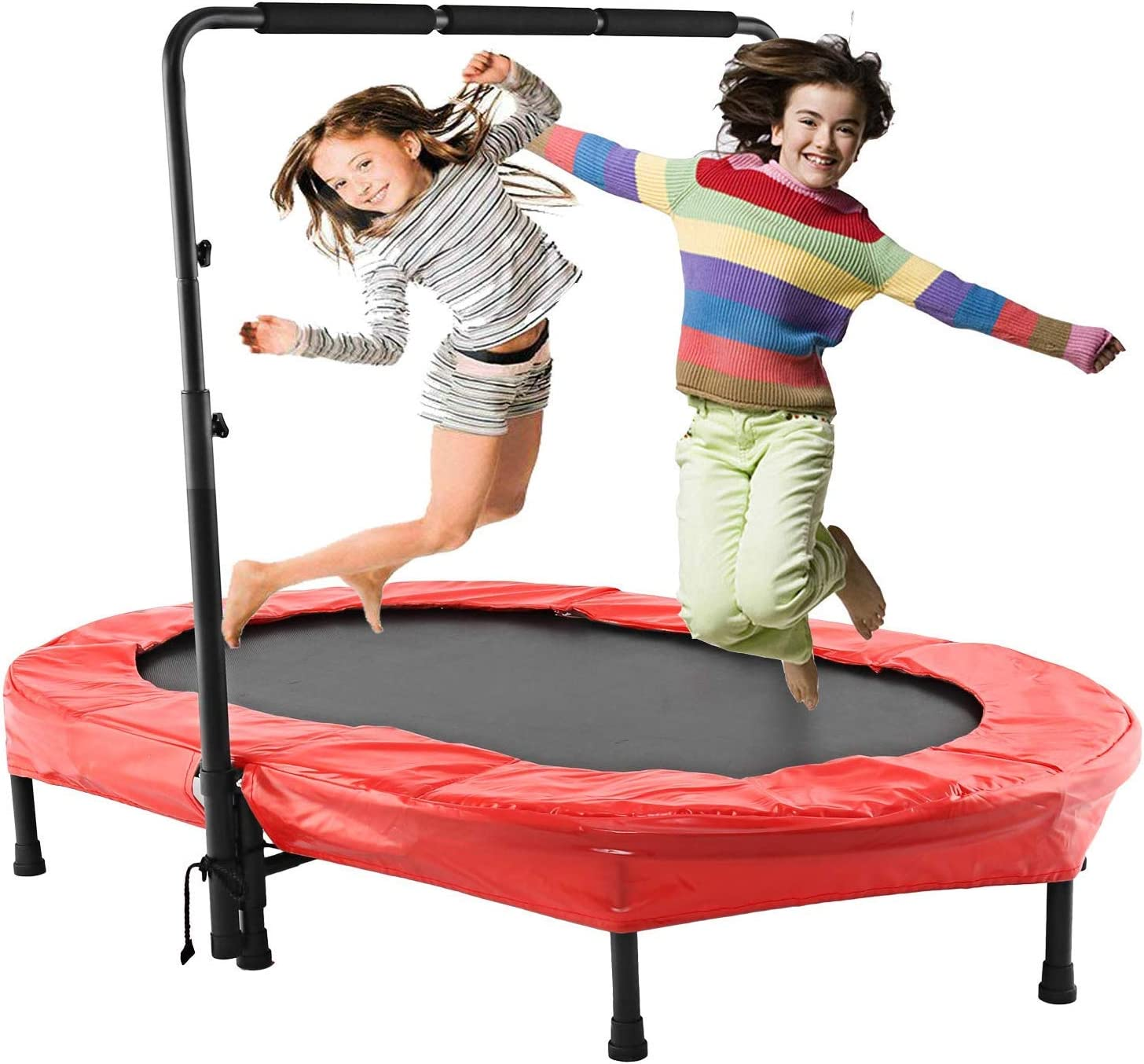 Binxin Mini Rebounder Trampoline Indoor Outdoor with Adjustable Handle for Two Kids, Parent-Child Twins Trampolines US Stock