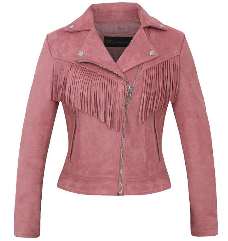 Xjx006 Pink Jeff Tribble Women Suede Leather Jacket Fashion Tassel Coat Biker Jacket Pink Brown Faux Leather