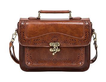 hochwertiges Design d9202 f5bcd ECOSUSI Damen Umhängetasche Vintage Umhängetaschen Crossbody Schultertasche  Kunstleder Handtasche Braun